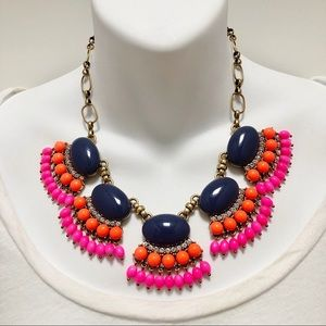 J. CREW Mixed Gem Cluster Statement Necklace